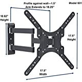 Full Motion TV Mount Heavy Duty 18 Arm - Multi Directional Articulating Up To 60 TV - VESA 75X75 - 400X400