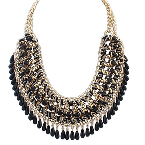 Eyourlife Hot Fashion Retro Jewelry Pendant Knit Chain Choker Chunky Statement Bib Necklace Black