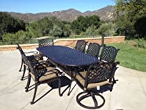 "Hot Sale Heritage Outdoor Living Nassau Cast Aluminum 9pc Outdoor Patio Set with 42""x102"" Oval Table - Antique Bronze"