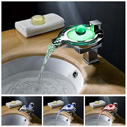 Fantastic Deal! Aquafaucet Color Changing LED Waterfall Faucet Tap Chrome Finish Round Bathroom Sink...