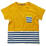 《H28年夏物》 nico hrat(ニコフラート) 製品洗い加工済み 天竺半袖ボーダー切替Tシャツ 80cm/YE NO.B-260139 ランキングお取り寄せ