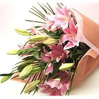 エーデルワイス 花 大輪系 ピンク百合の花束 ユリ3本-4本 花数15輪以上