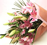 誕生日 花プレゼント ギフト 大輪系ピンクのゆり花束 花を贈る 15輪以上 敬老の日花