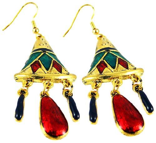Goldtone & Enamel Lotus Flower Dangle Earrings