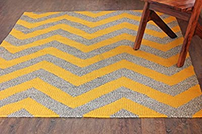 """Hot Weave Handwoven and Handmade 5'6"""" x 7'6"""" Heavy Quality Yellow/Grey Chevron Pattern Area Rug, Style 0838"""