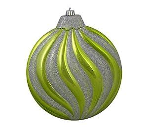 CC Christmas Decor Large Kiwi Green & Silver Glitter Swirl Shatterproof Christmas Disc Ornament 8
