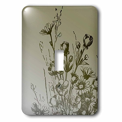 3dRose LLC lsp_79218_1 Vintage Green Floral- Flowers Single Toggle Switch (Floral Wall Switch Covers compare prices)