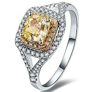 us design 18k white gold plated princess cut
