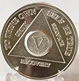 5 Year Silver Plated AA Alcoholics Anonymous Anniversary Medallion Chip Serenity Prayer V