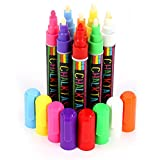 FANTASTIC ChalkTastic CHALK MARKERS & Pens BEST for Kids Art Menu Board Bistro Boards - 8 Glass & Window Markers & Erasable Paint Marker Pens with Reversible 6mm Fine or Chisel Tip - Bright Neon Colored Plus White