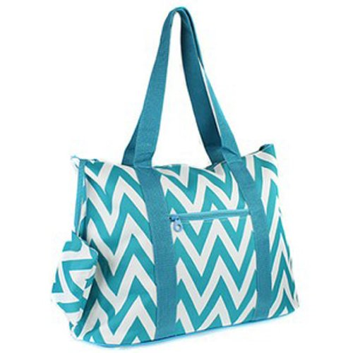 Large Roomy Canvas Tote Purse Beach Travel Bag w/ Attached Coin Purse (Chevron - Blue)