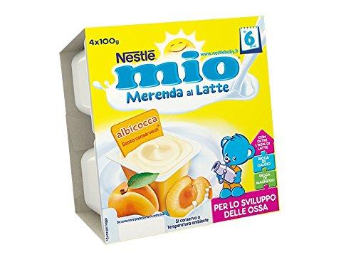 NESTLÉ MIO Merenda al Latte Albicocca senza glutine da 6 mesi 4 vasetti plastica da 100g