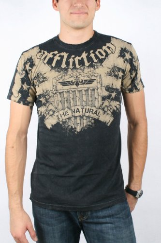 Affliction - Mens Couture Vetera T-Shirt in Black Lava Wash, Size: XX-Large, Color: Black Lava Wash