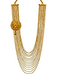 Bindhani Green Kundan Antique Gold Plated South Indian Multi-Strand Necklace For Women & Girls