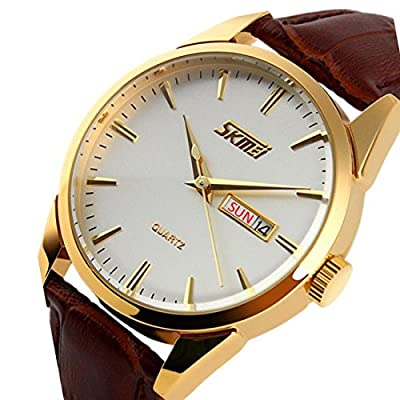 CakCity Mens Stylish Analog Quartz Waterproof Business Dress Watch with Stainless Steel Gold Case,Military Watch with Brown Leather Band