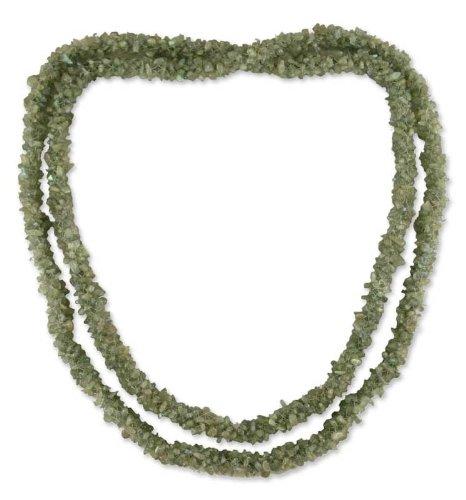 Labradorite long beaded necklace, 'Beautiful Mood'