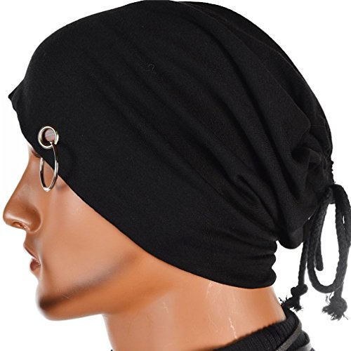 Kafeimali Men's Slouchy Long Beanie Knit Caps Snowboard Hats Ski Skull Caps Thin Hip-hop Skull Cap Unisex (Black) (Thin Skull Cap compare prices)