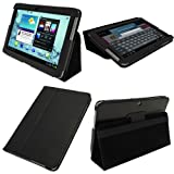 IGadgitz Black 'Portfolio' Genuine Leather Case Cover for Samsung Galaxy Tab 2 10.1 P5100 P5110 3G & WiFi Android 4.0 Internet Tablet