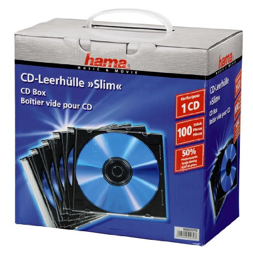 HAMA - BOÎTIERS CD SLIM - LOT DE 100 - NOIR