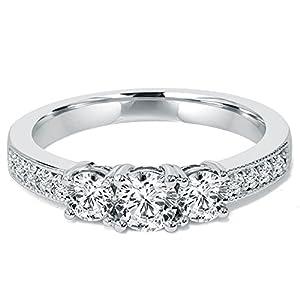 1 CT 3-Stone Diamond Milgrain Accent Engagement Ring 10K White Gold