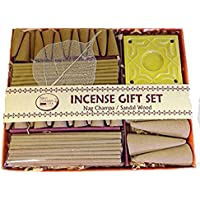 Sandalwood + Nag Champa Aromatherapy Incense Gift Set 40 Sticks & 29 Cones & Ceramic Holder