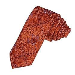 DAE7B06D Orange Red Hallowmas Skinny Necktie Woven Microfiber Skinny Tie Patterned Whole Sale For Bridegrooms By Dan Smith