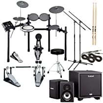 Yamaha DTX522K Electronic Drum Set, Roland CM-110 Monitors w/ Sub, Stands, Cables, Sticks - Complete Monitor Bundle
