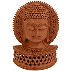 Little India Carved Wooden Religious Buddha Statue (Brown,HCF149)
