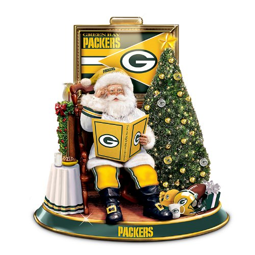 Green Bay Packers Illuminated Talking Santa Tabletop Centerpiece by The Bradford Exchange