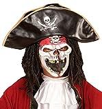 Widmann 00354 Viso a Medio-Máscara de Pirata, Talla Única, Diseño de Fantasmas, Color Azul