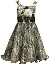 Size-16.5, Multi, BNJ-7894R Sleeveless Floral Print Mesh Shantung Dress ,R87894 Bonnie Jean Girl Plus-Size Special Occasion Flower Girl Party Dress