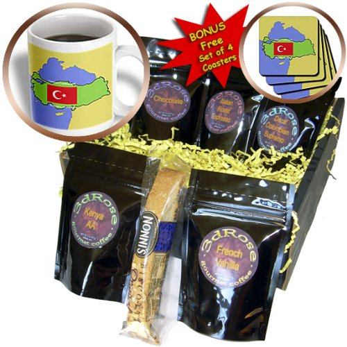 Cgb_45204_1 777Images Flags And Maps - Map And Flag Of Turkey With Republic Of Turkey Printed In Both English And Turkish - Coffee Gift Baskets - Coffee Gift Basket