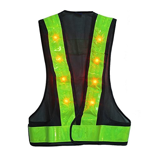 """Hot Sales! 16 Led Light Up Outdoor Night Warning Flashing Vest With Reflective Stripes Fit Up To 40"""" Waist"""