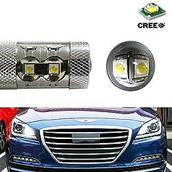 See iJDMTOY (2) Xenon White 50W CREE High Power LED Daytime Lights/Turn Signal Lights Conversion For 2015-up Hyundai Genesis Sedan Details