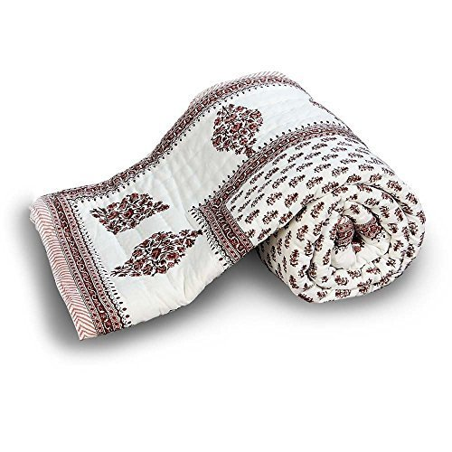 Diseño Floral Jaipuri Ethnic Little India algodón de funda de edredón para cama de matrimonio marrón