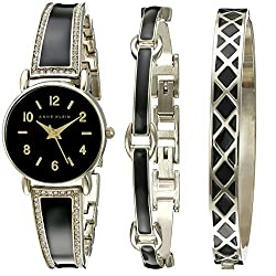 Anne Klein Women's AK/2052BKST Analog Display Japanese Quartz Black Watch