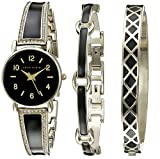 Anne Klein Women's AK/2052BKST Swarovski Crystal Accented Gold-Tone and Black Bangle Watch with Bracelet Set