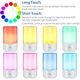 1byone Bedside Lamp Touch Atmosphere Lamp Sensor Table Lamp Desk lamp Desk Light, Dimmable Warm White Light and RGB Color Changing Smart Atmosphere Lamp