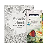 Coloring Book for Adults - Paradise Island Mandalas - Includes 12 BONUS Staedtler Colored Pencils