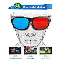 Evana NVIDIA Professional Resin Frame 3D Glasses Anaglyph Glass for Movie Game DVD SY Red & Cyan Blue (get free TTL/Trusttel Branded mobile pouch)