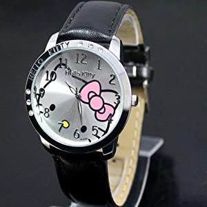 Hello Kitty Large Face Quartz Watch, Black Band & Hello Kitty Pouch + Extra Battery