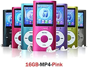 Lonve Pink 16GB MP4/MP3 Player Music 1.81'' Screen MP4 Music/Audio/Media Player with FM Radio