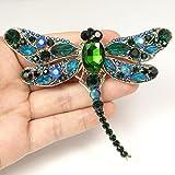 EVER FAITH® Dragonfly Gold-Tone Teardrop Pendant Brooch Green Austrian Crystal