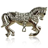 Silver Horse Brooch Diamante Pony Brooch Special Country Gift for Women