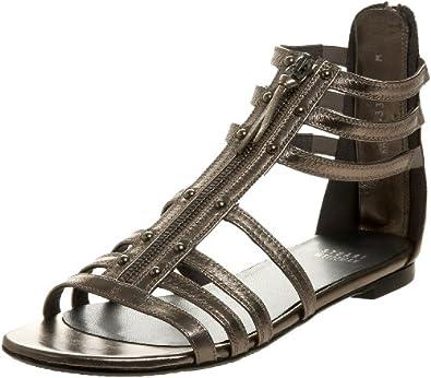 Stuart Weitzman Women's Zipdown Flat Sandal,Lead Nappa,6 M US