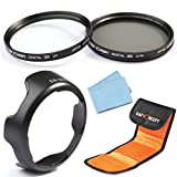 K&F Concept 58mm UV CPL Lens Accessory Filter Kit UV Protector Circular Polarizing Filter for Canon 600D EOS M M2 700D 100D 1100D 1200D 650D DSLR Cameras + Bayonet Lens Hood (replacement Canon w.EW-60C) + Lens Cleaning Cloth + 3 Slot Filter Pouch