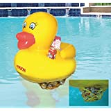 Swimming Pool Toy Rubber Duck Inflatable 24 Inches with Soft Drink Can Cooler and Holder, Waddlers Brand Rubber Ducks Family, Best for All Depts. Birthday Anniversary Party Gift Pack