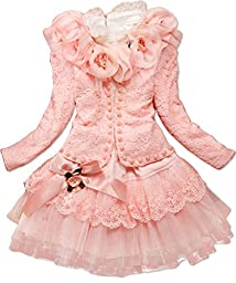 Dolpind Baby Girls 3 Piece Cardigan Clothes Kids TuTu Dress Outfit Clothing 10-11Years Light Pink