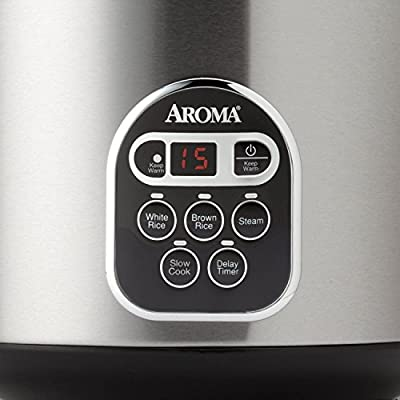 Aroma 20-cup (Cooked) Digital Rice Cooker and Food Steamer, Stainless Steel, New from Rice Cookers