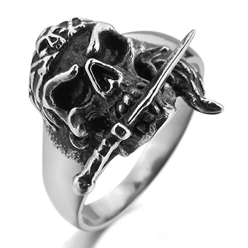 Kalendone Men's Stainless Steel Ring Silver Black Pirate Skull Dagger Knife Ring Gothic Ring US Size 10 Jewelry